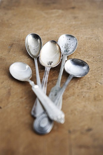 Still Life of Antique Spoons : Stock Photo