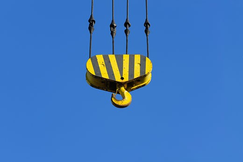 Stock Photo: 1828R-63640 Industrial Crane Hook in Sky