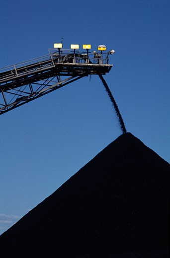 Stock Photo: 1828R-64179 Black Coal Mining, Stockpiling Coal