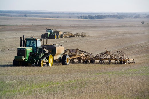 Stock Photo: 1828R-64670 Wheat Sowing, Two Tractors Pulling Seed Drills, Australia