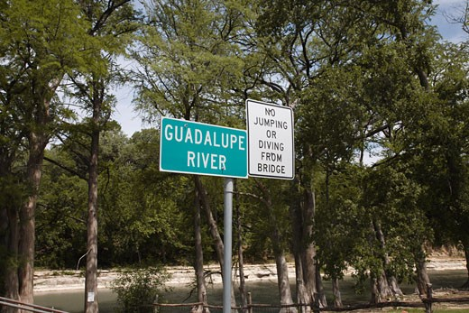 Stock Photo: 1828R-65067 Guadalupe River Sign, Texas, USA