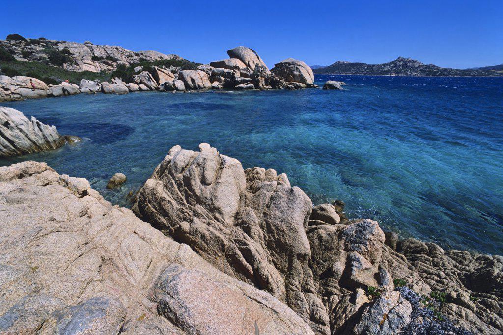 Stock Photo: 1828R-65110 Shoreline, Santo Stefano, Maddalena Archipelago, Sardinia, Italy