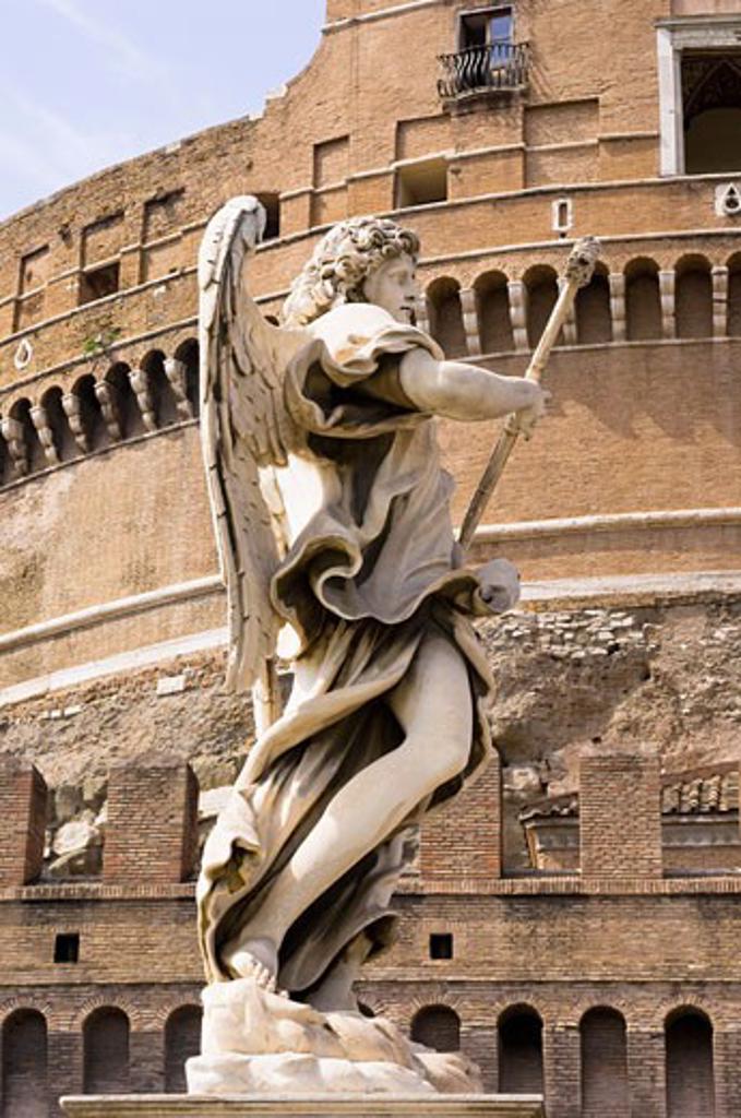 Statue, Castel Sant'Angelo, Rome, Latium, Italy : Stock Photo