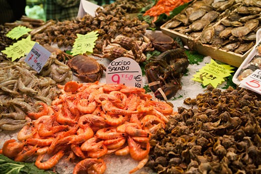 Stock Photo: 1828R-66148 Seafood in Open Air Market, Barcelona, Spain