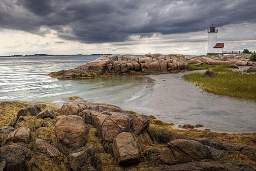 Stock Photo: 1828R-66396 Annisquam Harbor Light, Wigwam Point, Gloucester, Cape Ann, Massachusetts, USA