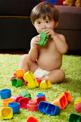 Little Boy Playing with Toys : Stock Photo