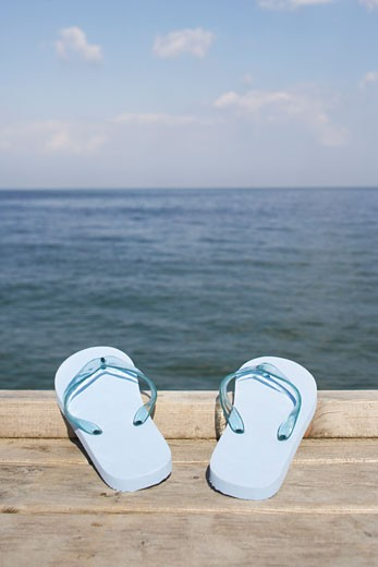 Flip Flops on Dock, Juelsminde, Jylland, Denmark : Stock Photo