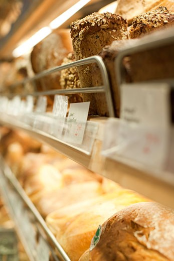 Stock Photo: 1828R-66975 Close-up of Bread in a Bakery