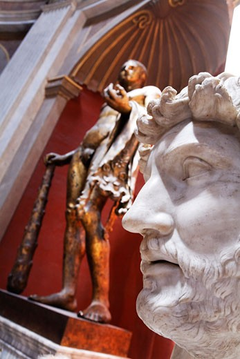 Stock Photo: 1828R-67183 Sculptures inside Vatican Museum, Vatican City, Rome, Italy