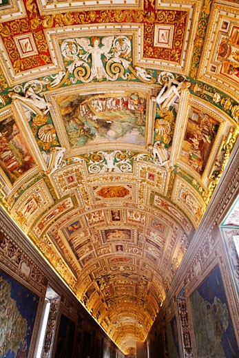 Stock Photo: 1828R-67186 Ceiling inside Vatican Museum, Vatican City, Rome, Italy