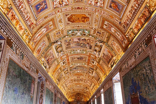 Stock Photo: 1828R-67187 Ceiling inside Vatican Museum, Vatican City, Rome, Italy