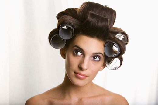Stock Photo: 1828R-68038 Portrait of Woman With Hair Rollers