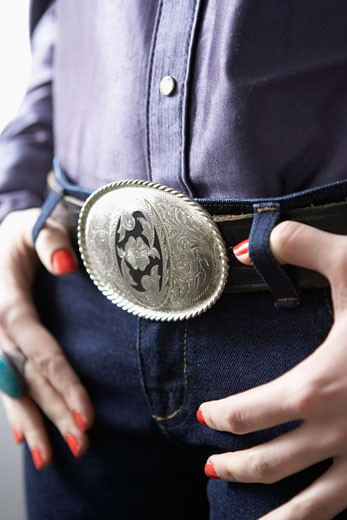 Stock Photo: 1828R-68088 Close-Up of Western Belt Buckle