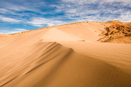 Stock Photo: 1828R-68093 Sand Dune in Valle de la Muerte, Los Flamencos National Reserve, Atacama Desert, Chile