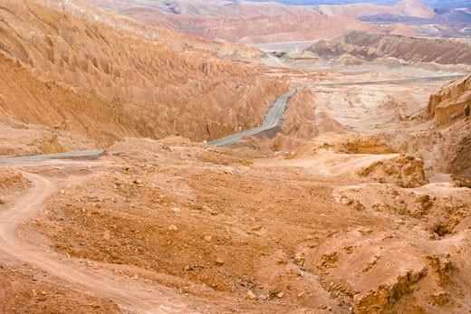 Road Between Salt Formations, Atacama Desert, Valle de la Luna, San Pedro de Atacama, Chile : Stock Photo