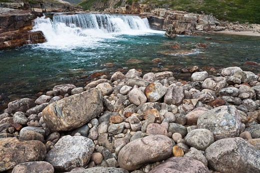 Stock Photo: 1828R-68389 Livingstone Falls and Livingstone River, Katannilik Territorial Park Reserve, Baffin Island, Nunavut, Canada