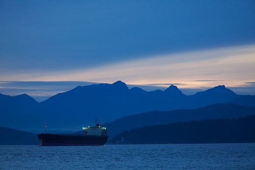Freighter, English Bay, Vancouver, British Columbia, Canada : Stock Photo