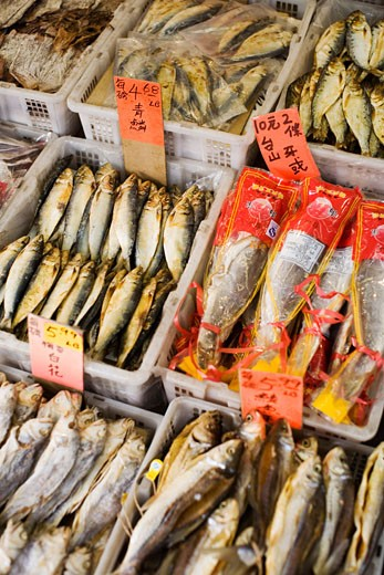 Stock Photo: 1828R-68689 Dried Fish in Market, Chinatown, Vancouver, British Columbia, Canada