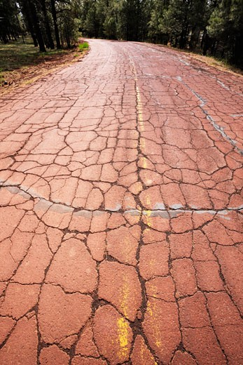Stock Photo: 1828R-68803 Cracked Pavement on Old Route 66, Near Williams, Arizona, USA