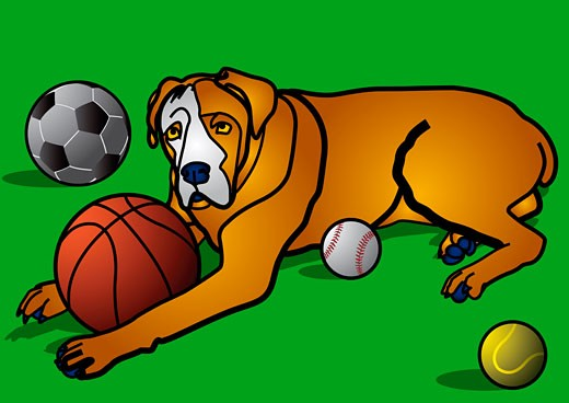 Stock Photo: 1828R-68898 Illustration of Dog with Balls