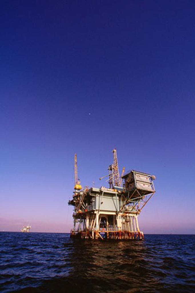 Stock Photo: 1828R-6957 Offshore Oil Rig California, USA