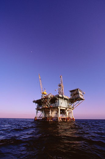 Stock Photo: 1828R-6958 Offshore Oil Rig, California, USA