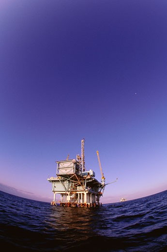 Stock Photo: 1828R-6959 Offshore Oil Rig, California, USA