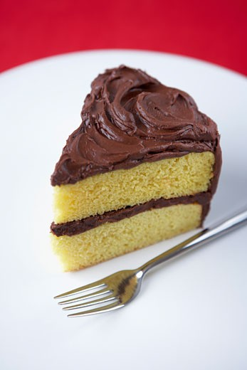 Stock Photo: 1828R-69894 Slice of Cake with Chocolate Icing