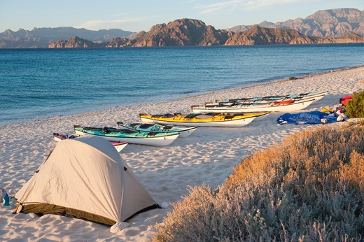 Stock Photo: 1828R-70034 Kayaks and Tent, Carmen Island, Bahia de Loreto Parque Nacional, Baja California Sur, Baja California Peninsula, Mexico