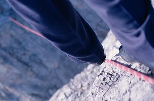 Stock Photo: 1828R-7008 Business Man Tightrope Walking, Kananaskis Country, Alberta, Canada