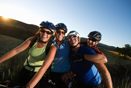 Stock Photo: 1828R-70095 Group of Mountain Bikers, Near Steamboat Springs, Routt County, Colorado, USA