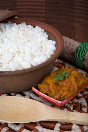 Stock Photo: 1828R-70161 Putu Pap With Spicy Chakalaka Sauce