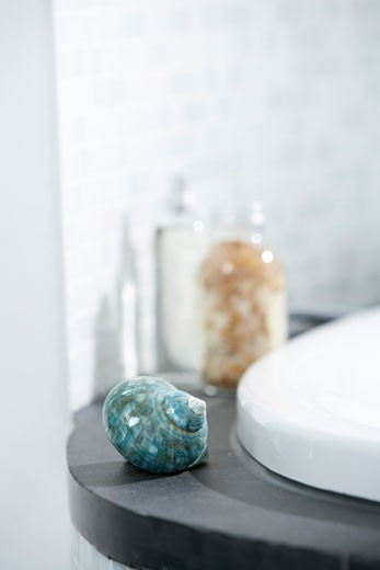 Close-up of Seashell on Edge of Bathtub : Stock Photo
