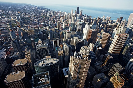 Stock Photo: 1828R-71301 Aerial View of Chicago, Illinois, USA