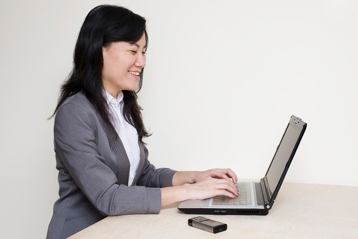Stock Photo: 1828R-72119 Businesswoman Using Laptop Computer