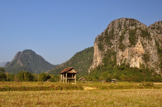 Limestone Karst Mountains, Vang Vieng, Vientiane Province, Laos : Stock Photo