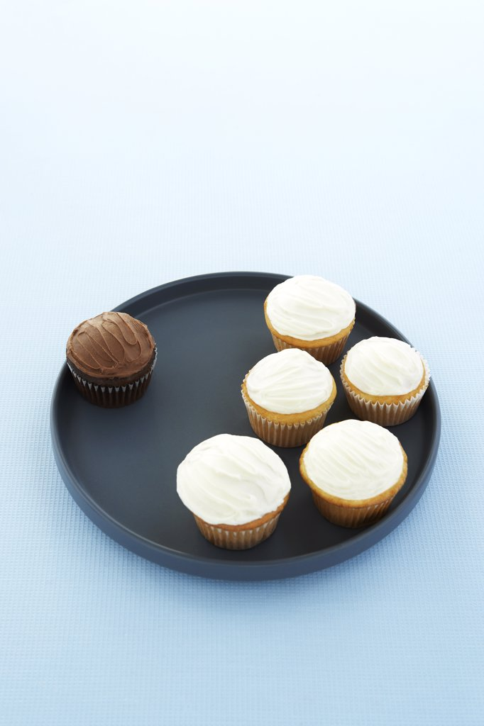 Chocolate Cupcake Seperated from Vanilla Cupcakes : Stock Photo