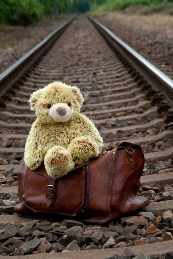 Stock Photo: 1828R-75122 Teddy Bear and Suitcase on Train Tracks