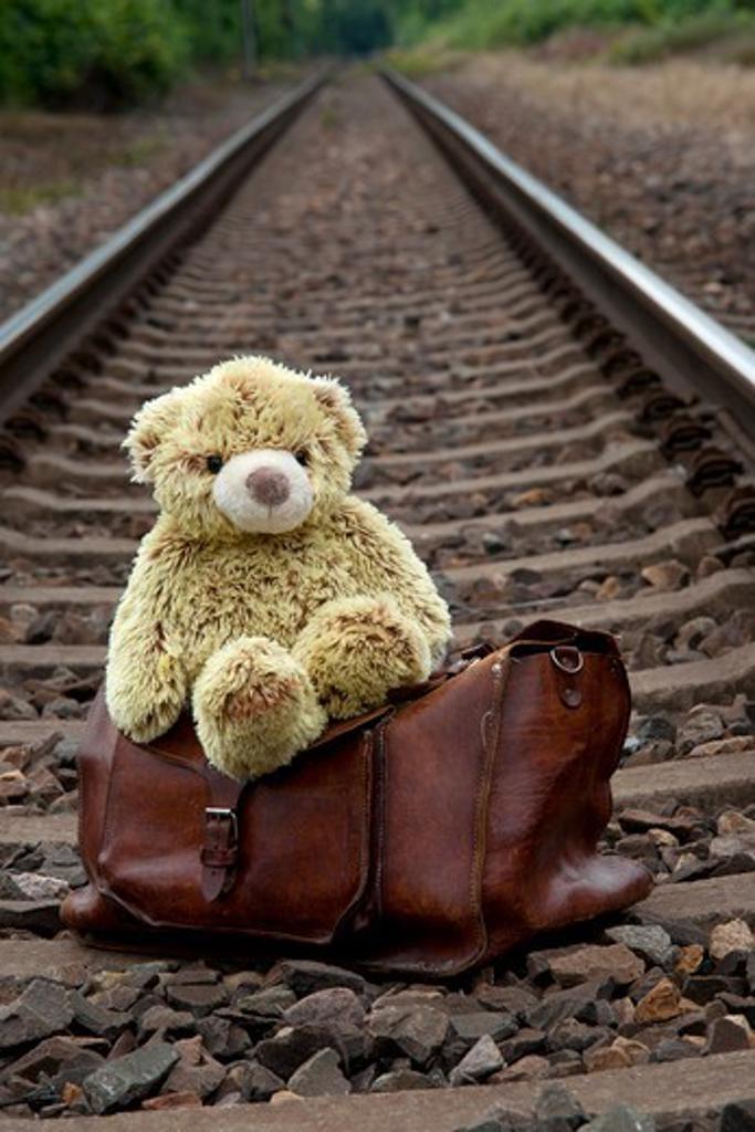 Teddy Bear and Suitcase on Train Tracks : Stock Photo