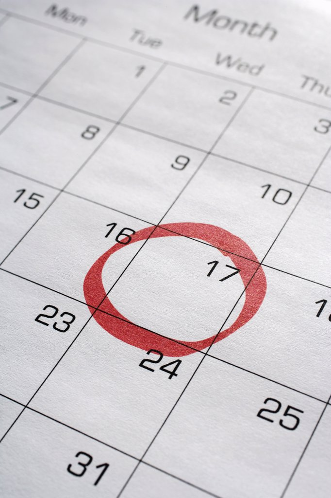 Stock Photo: 1828R-77840 Calendar with 17th Circled