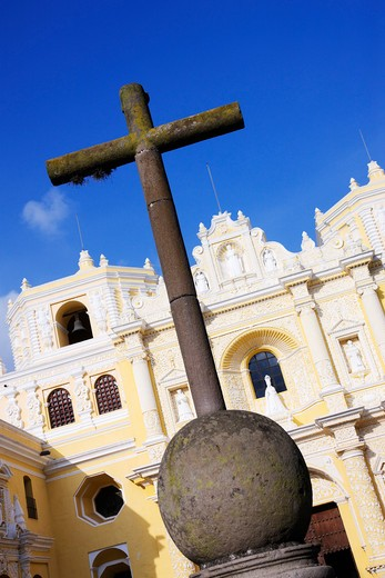 Stone Cross and Iglesia La Merced, Antigua, Sacatepequez Department, Guatemala : Stock Photo