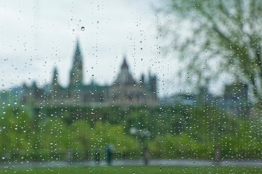 View of Parliament Buildings Through Rain-covered Window of the National Gallery of Canada, Ottawa, Ontario, Canada : Stock Photo