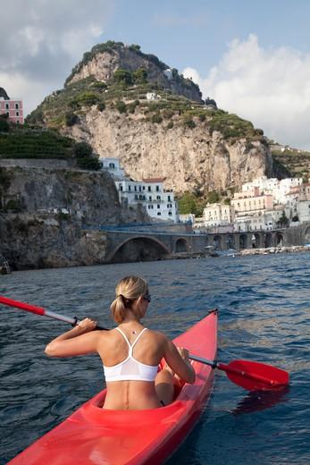 Woman Kayaking, Amalfi Coast, Italy : Stock Photo