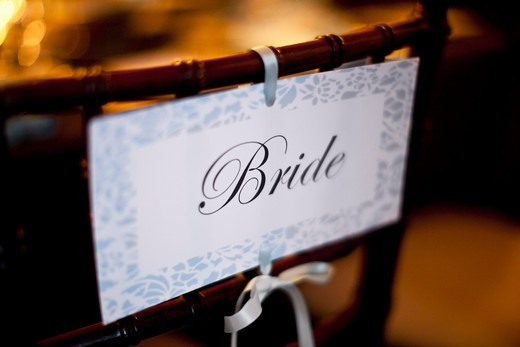 Stock Photo: 1828R-78917 Bride Sign on Chair