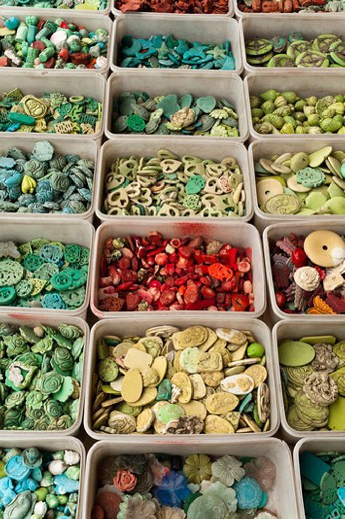 Beads, Panjiayuan Flea Market, Chaoyang District, Beijing, China : Stock Photo