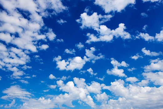 Clouds in Blue Sky, South of Longview, Alberta, Canada : Stock Photo