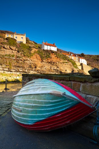 Fishing Boat, Staithes, North Yorkshire, Yorkshire and the Humber, England, United Kingdom : Stock Photo