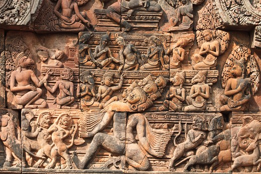 Stock Photo: 1828R-80570 Relief, Banteay Srei, Angkor, Siem Reap, Cambodia