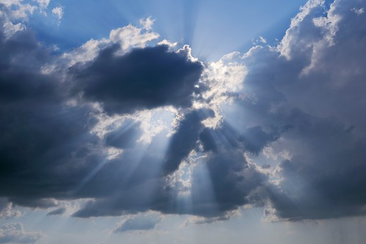 Stock Photo: 1828R-81438 Sunbeams throuth Clouds, Pienza, Val d'Orcia, Siena Province, Tuscany, Italy
