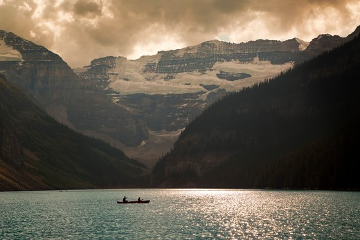 Mount Victoria and Lake Louise with Canoeists, Banff National Park, Alberta, Canada : Stock Photo
